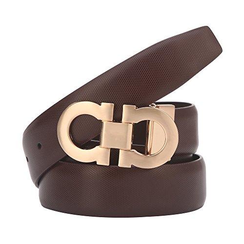 Brown Designer Belts - Mens Genuine Leather Dress Belt Comfort on Gold Silver Slide Buckle Belt 35mm (Brown/Gold, 27''-48'')