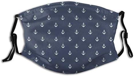KISSENSU Nautisches klassisches Muster mit weißen kleinen Ankersymbolen Sea Travel CruiseWhite Staubwaschbarer wiederverwendbarer Filter und wiederverwendbarer Mund Warmes winddichtes Baumwollgesicht