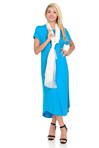 iconic luxe Women's A-Line Short Sleeve Midi Dress Large Turquoise