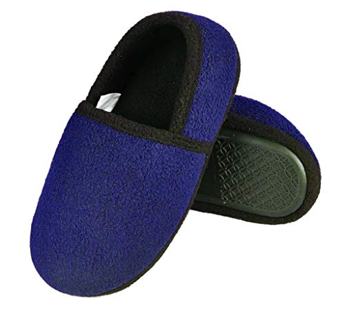 RliliR Ever Unisex Kids Little Boys Slip-On Warm Comfortable Indoor Slippers Size 9-10 Dark Blue
