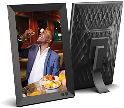 10 inch Digital Picture Frame with 1920×1080 IPS Screen Digital Photo Frame Adjustable Brightness, Photo Deletion, Timing Power On Off, Background Music Support 1080P Video, SD Card and USB