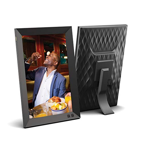 NIX 10.1 Inch USB Digital Photo Frame - Portrait or Landscape Stand, HD Resolution, Auto-Rotate, Magnetic Remote Control - Mix Photos and Videos in The Same Slideshow