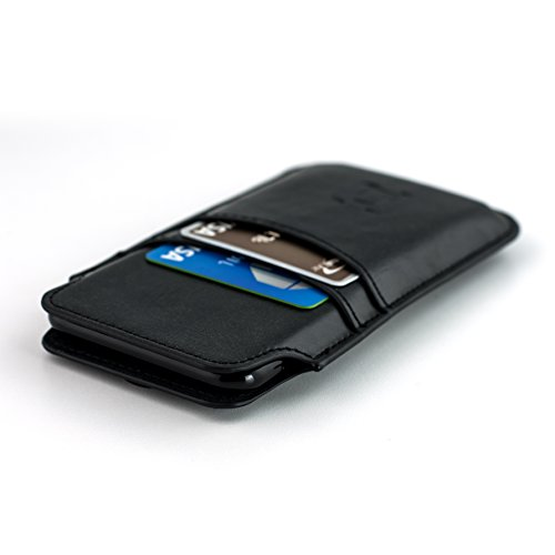 Dockem Wallet Sleeve for Google Pixel and Pixel 2 - Vintage Synthetic Leather Card Case; Ultra Slim Professional Executive Pouch Cover with 2 Card Holder Slots, Black by Dockem