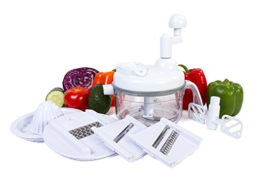 Ultra Chef Express Food Chopper - 7 in 1 Chopper, Mixer, Blender, Whipper, Slicer, Shredder and Juicer (Manual Food Slicer)