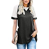 Dainzusyful Women's Short Sleeve Shirts Round Neck Blouse Patchwork Printed Casual Loose T-Shirts Tunics Tops