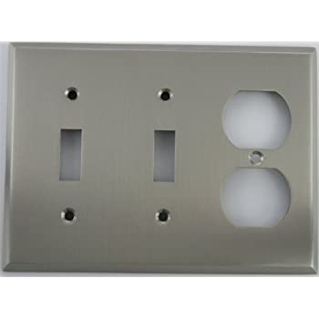 satin nickel 2 toggle 1 duplex outlet 3 gang wall plate