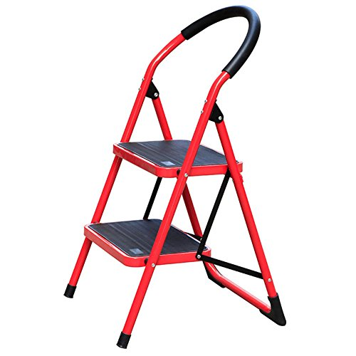 Centurich 2-Step Folding Stool Steel Step Stool Foldable Step Ladder with Rubber Handgrip and Non-Slip Treads (Red)