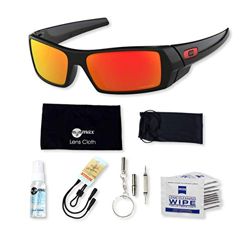 Oakley Gascan, OO9014 (44) Polished Black/Prizm Ruby 60mm, Sunglasses Bundle with original case, and accessories (6 items) (Oakley Original Sunglasses)