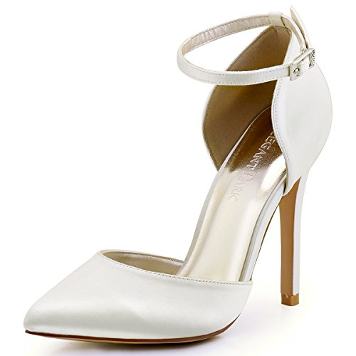 ElegantPark HC1602 Women's Pointed Toe High Heel Ankle Strap D'Orsay Pumps Satin Bridal Wedding Shoes Ivory US 7.5