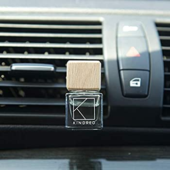 Kindred Aroma Natural Wood Car Essential Oil Diffuser + 10ml Pure Aromatherapy Lavender Essential Oil + Natural Car Air Freshener Vent Clip