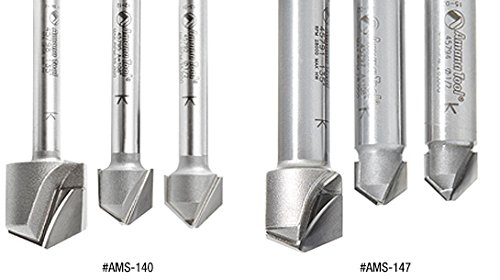 Amana Tool AMS-140 3-Pc Carbide Tipped V-Groove 90, 108 and 135 Deg. for Double Edge Folding Aluminum Composite Material (ACM) Panels, 1/4 Inch SHK Router Bit Collection