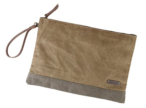 Leather Manila Envelope - Gootium Waxed Canvas Zipper Bag - Water Resistant Multipurpose File Pouch for Artists and Office, 13