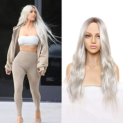 Platinum Blonde Synthetic Middle Parting product image