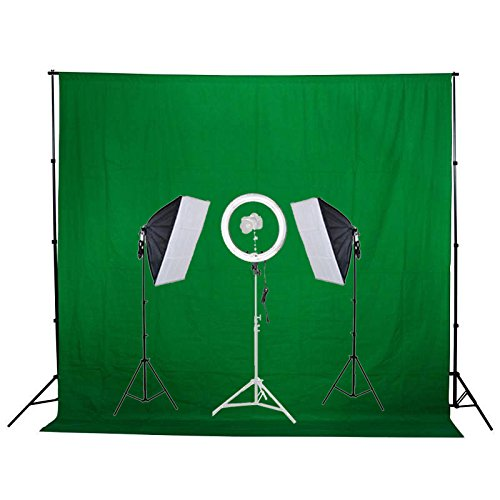 GTAPhotoStudio 13 inch Diva Ring Light + Photo Video Softbox Studio Lighting Kit + Green Backdrop Kit & Stand