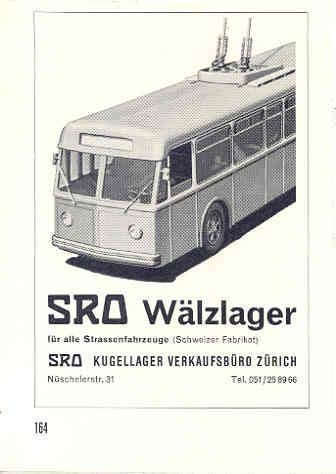 - 1967 SRO Walzlager Electric Trolley Bus Ad Switzerland