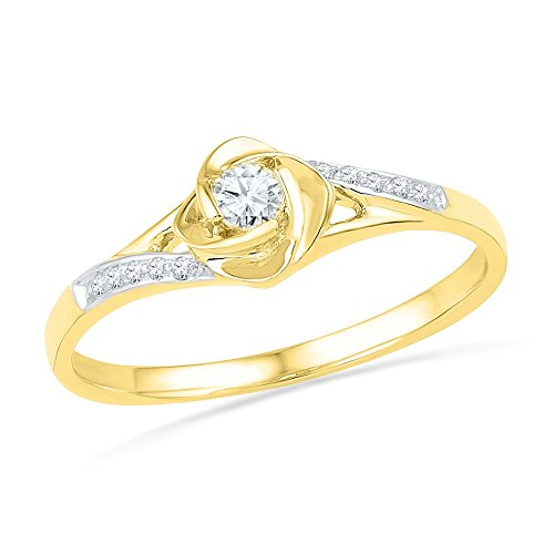 14KT Yellow Gold Round Diamond Promise Ring (1/10 cttw)
