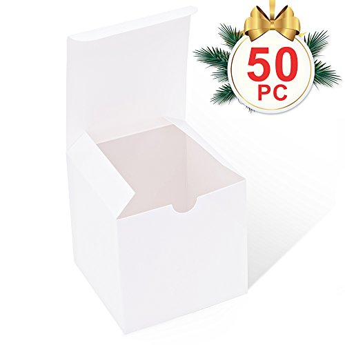 Ornament Gift Boxes - MESHA White Boxes 50 Pack 4 x 4 x 4 Inches, White Cardboard Gift Boxes with Lids for Gifts, Crafting, Cupcake Boxes