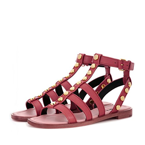 XYD Women Strappy Slingbacks Casual Flats Sandals Studs Buckles Black Shoes Size 4 Dark Red