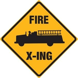 Fire Truck X-ing Tin Sign - Fire Dept Tin Sign