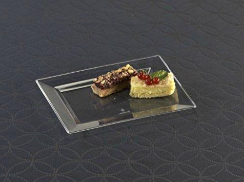 Emi-Yoshi Disposable Plastic Rectangle Dessert Plates 7.5