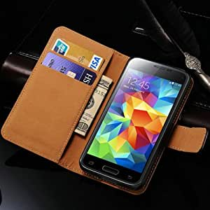 10 Pcs/lot Luxury Stand Wallet Genuine Leather Case For Samsung Galaxy S5 mini G800 Mobile Phone Bag Cover Wholesale --- Color:Blue Case