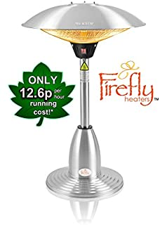 Firefly 2.1kW Stainless Steel Halogen Bulb Infrared Electric Table Top  Outdoor Patio Heater With 3