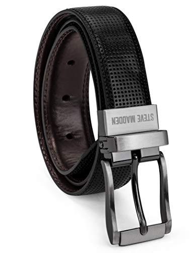 (Steve Madden Boys' Big Reversible Belt for Kids, black/brown/perforated, Small)