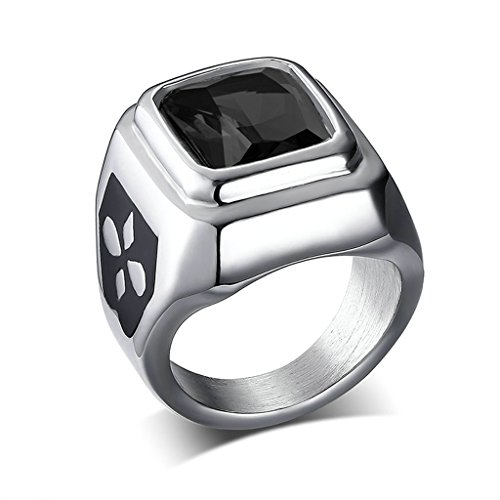 (ANAZOZ Stainless Steel Vintage Wedding Band Engagement Rings for Women Men Black Crystal Size)