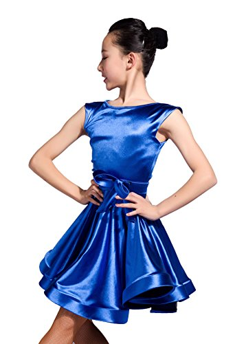 Gloss Textured - GD3111 Kid Latin Ballroom Ball Party Dance Professional Universal Performance/Show Race/Game Kids Skirt Dress for Girl (Gloss Textured Stretch Satin Fabric) (110, Blue)