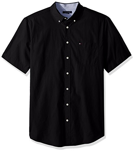 Tommy Hilfiger Men's Big and Tall Button Down Short Sleeve Shirt Maxwell, Black, - Button Tommy Shirt Down Hilfiger