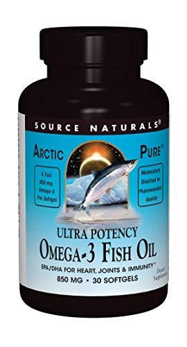 Source Naturals ArcticPure Omega-3 Fish Oil 850mg Ultra Potency Maximum Strength EPA + DHA For Heart, Joint, Brain & Immune Health - 30 Softgels