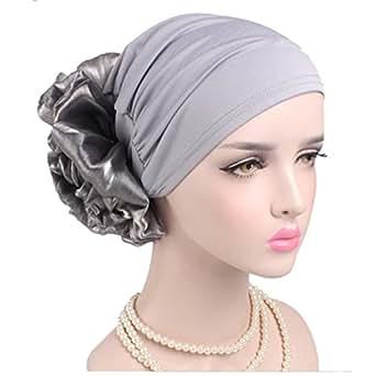 Women Big Flower Elastic Turban Beanie Head Wrap Chemo Cap