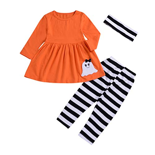 1-5 Years Toddler Baby Boys Girls Halloween Clothes Ghost and Pumpkin Dresses Striped Pants Winter Outfits Set (Ghost, 3-4T)