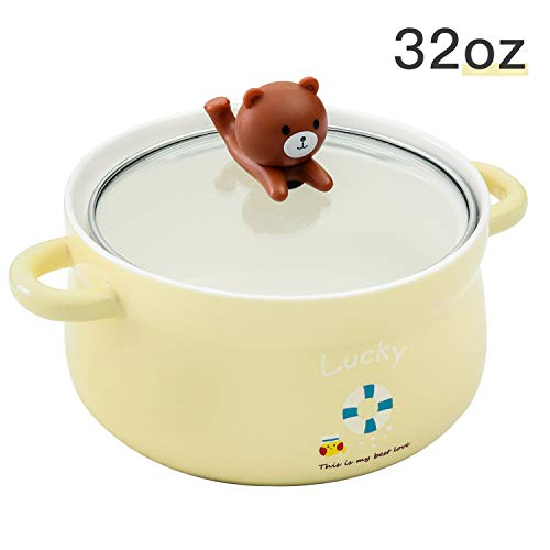 Cute Yellow Bear 32oz Big Ceramic Bowl with Lid and Handle for Soup/Rice/Salad/Instant/Noodle/Vegetables Fruit(1000m Yellow Bear) ()