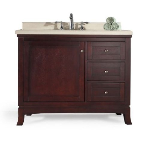 Ove Decors Velega 42 Bathroom 42-Inch Vanity Ensemble with Marble Countertop and Ceramic Basin, Tobacco