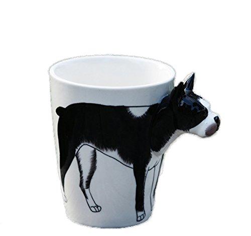 3D Hand-painted Cute Animals Mug,Ceramic Coffee Mug,Novelty Gift Cup(13.66oz)(Boston Terrier)