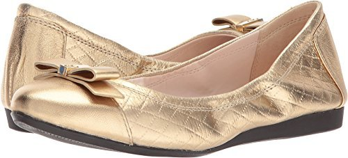 Quilted Flats Metallic (Cole Haan Women's Elsie Ballet II Antique Gold Metallic Quilted Print 7 B US)