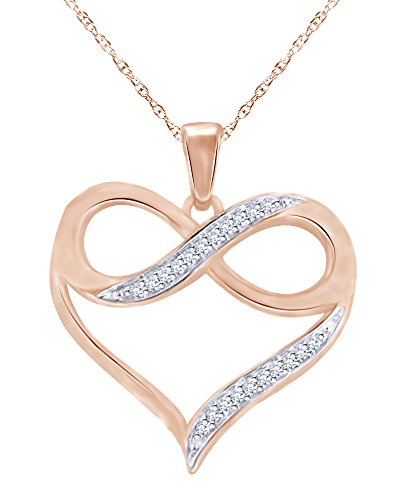 (Round Cut Diamond Accent Heart with Infinity Pendant in 10K Solid Rose Gold)
