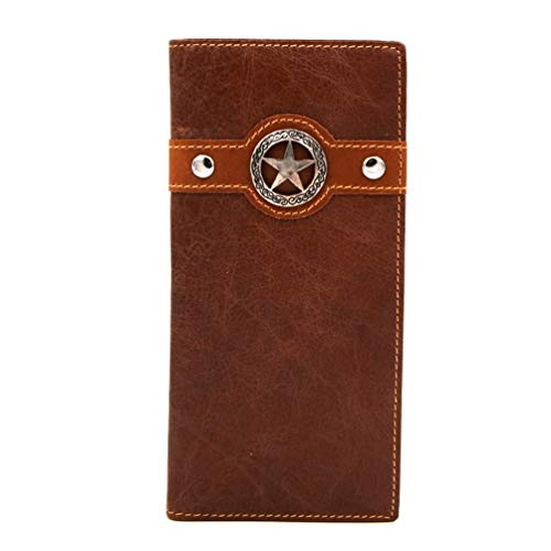 - Genuine Leather Texas Lone Star Western Bi-Fold Man's Long Wallet (coffee)
