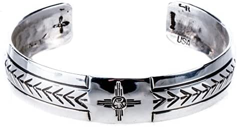 Turquoise Skies Tskies: Silver Bracelets for Women, Attune Cuff 'Zia' Stamp Finish, 100% Navajo American Made Jewelry