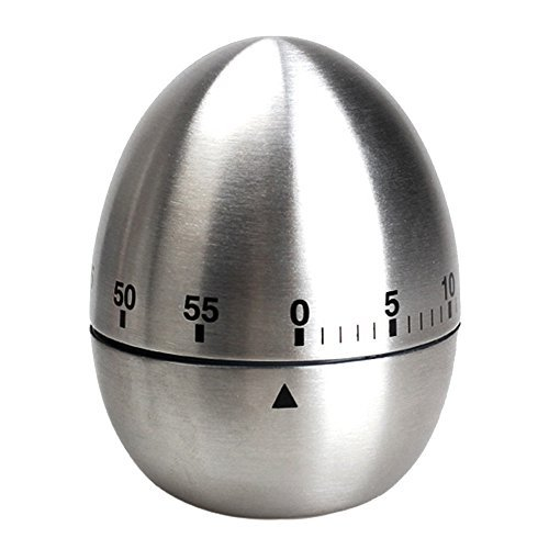 Egg Shaped 60 Minutes Stainless Steel Mechanical Dial Cooking Kitchen Timer Alarm by uGen! Perfect Home Kitchen Cooking Tools, Accessories & Gadgets for you! (Timer Shaped Egg)