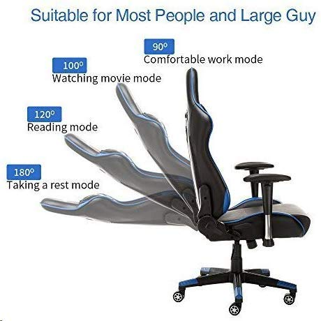 Lumbar Support and Footrest WENSIX Gaming Chair Video Game Chair Ergonomic Racing Chair Computer Chair High-Back PU Leather Massage with Headrest White-002