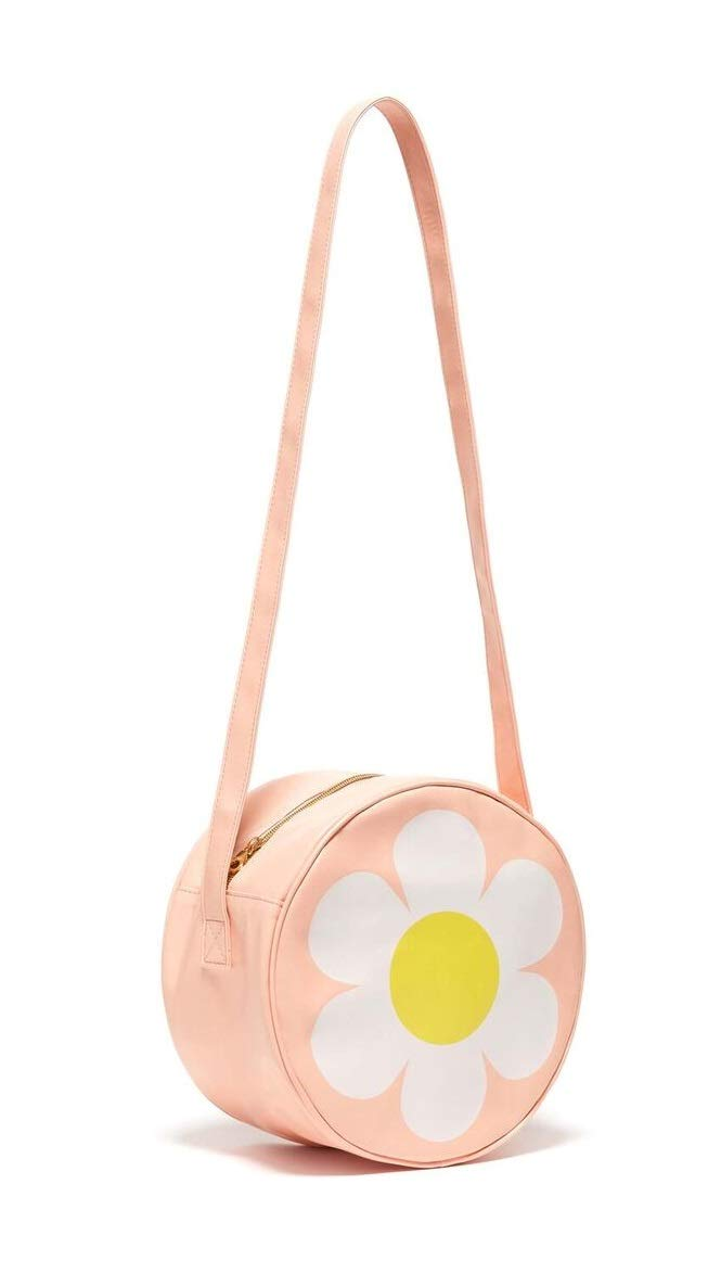 ban.do Super Chill Mini Circle Cooler Bag with 44'' Shoulder Strap and Water Resistant Leatherette, daisy