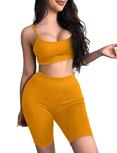 (NAFOUR Women's Bodycon 2 Pieces Outfits Crop Cami Tank Tops Shorts Pants Set Apricot)
