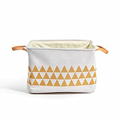 Yascent Collapsible Polyester Storage Basket or Bin with Leather Handles, Home Organizer Solution for Office, Bedroom, Closet, Toys, & Laundry, Round, Cream White with Golden Triangle -  - living-room-decor, living-room, baskets-storage - 41NfN3M9K%2BL. SS400  -