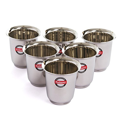 Embassy Stainless Steel Mayuri Coffee Glass/Tumbler, Pack of 6, Size 3-180 ml/Glass Price & Reviews