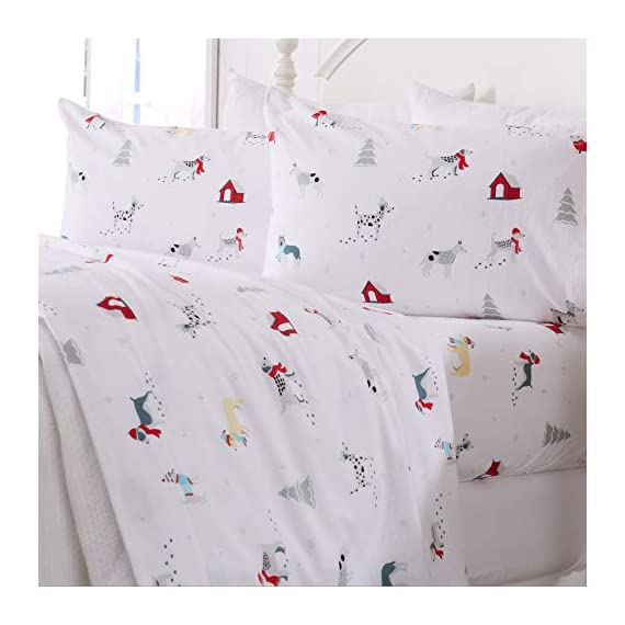 Great Bay Home Extra Soft Printed 100% Turkish Cotton Flannel Sheet Set. Warm, Cozy, Luxury Winter Bed Sheets. Belle Collection (Twin, Pups in The Snow) - TOP QUALITY, AFFORDABLE PRICE: Our premium flannel bed sheets enhance the comfort level of any bed! Mutli-purpose, versatile and extremely high-quality at an unbeatable value. Each set includes 1 fitted sheet, 1 flat sheet and 2 pillowcases (1 pillowcase for Twin size). SUPER SOFT WARMTH: Feel the difference in our 170 GSM 100% Turkish Cotton FLANNEL. These are the BEST WINTER SHEETS you'll ever own! They're SOFT, COZY, WARM, GENTLE and BREATHABLE. Stay warm and toasty on the coldest nights and sleep better than ever. Available in a variety of PRINTED PATTERNS for you to choose from. PERFECT FIT EVERY TIME: These DEEP POCKET sheets come with fully elasticized fitted sheets that fit mattresses up to 17 inches deep. See below for exact measurements. EASY CARE AND EASY WASH: Machine washable, wrinkle resistant, fade resistant, shrink resistant & pill resistant. Extremely DURABLE and LONG LASTING. - sheet-sets, bedroom-sheets-comforters, bedroom - 41NfNDokFVL. SS570  -