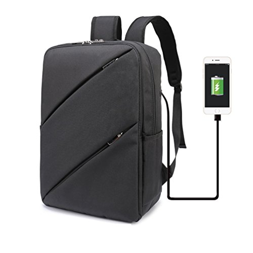 Design Conveying - Weekend Shopper Lightweight Business Backpack College Bookbag Casual Daypack Laptop Backpack for Women and Men Black