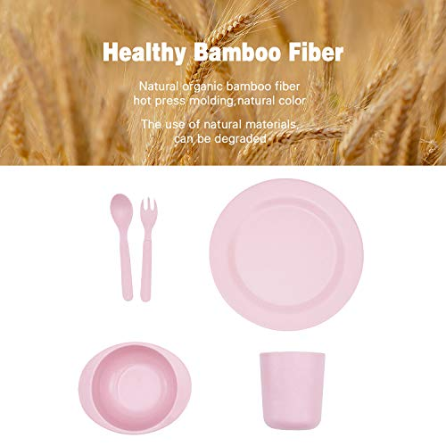 5pcs Bamboo Kids Dinnerware