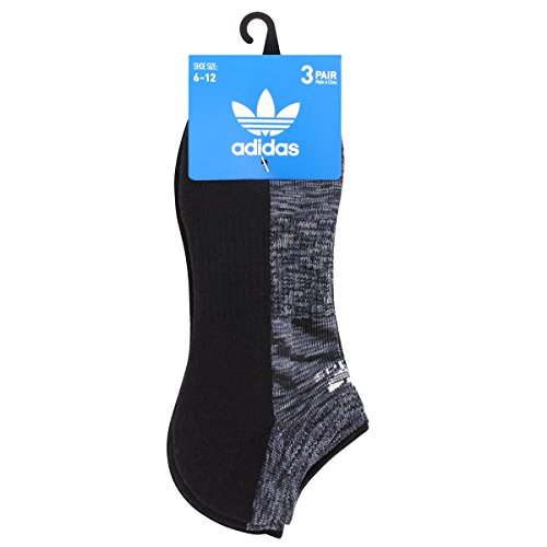 Adidas Men's Originals Cushioned No Show Socks (3 Pack), Black Space Print/Grey/Onix/White Space, Large